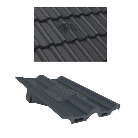 Grey Double Roman Roof Tile Vent & Adapter / Marley Redland Sandtoft