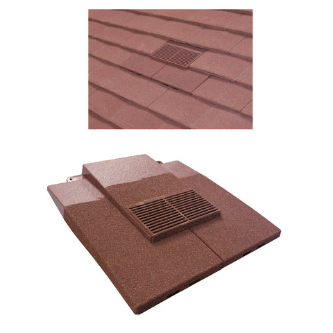 Granulated Old Red Plain In-line Roof Tile Vent & Pipe Adapter