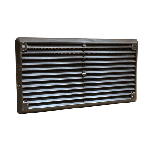 "6"" x 3"" Brown Plastic Louvre Air Vent Grille with Flyscreen Cover"