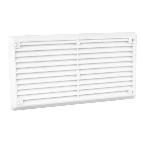 "6"" x 3"" White Plastic Louvre Air Vent Grille with Flyscreen Cover"