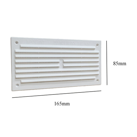 "6"" x 3"" White Louvre Air Vent Grille with Removable Flyscreen Cover"