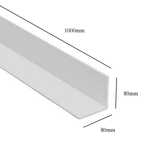 White 1 Metre UPVC Angle 80 x 80mm Corner Trim <br> Menu Options