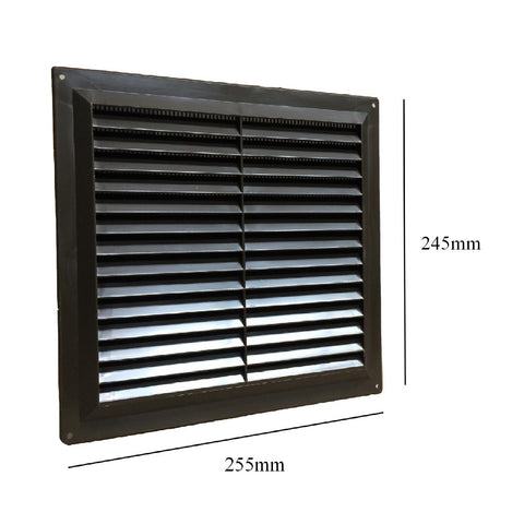 "9"" x 9"" Brown Plastic Louvre Air Vent Grille with Flyscreen Cover"