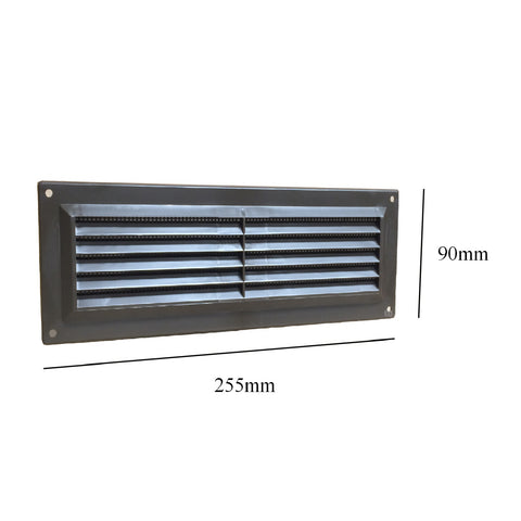 "9"" x 3"" Brown Plastic Louvre Air Vent Grille with Flyscreen Cover"