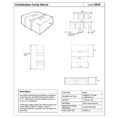 2 x Cavity Wall Combination Extension Sleeves G935<br><br>