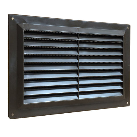 "9"" x 6"" Brown Plastic Louvre Air Vent Grille with Flyscreen Cover"