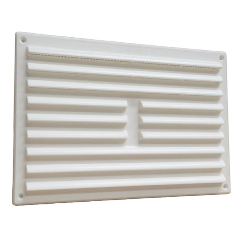 "9"" x 6"" White Louvre Air Vent Grille with Removable Flyscreen Cover"
