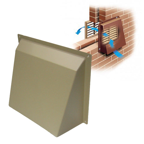 Buff / Cream Hooded Cowl Vent Cover for Air Bricks Grilles Extractors