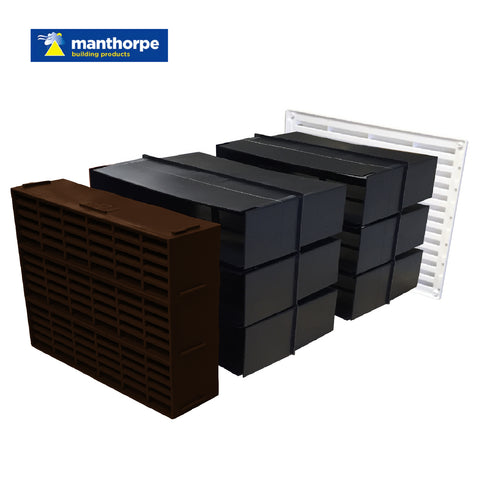 "9"" x 9"" Manthorpe Extendable Combination Cavity Wall Sleeve Vent"