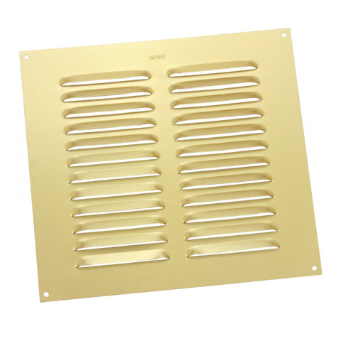 "9"" x 9"" Brass Aluminium Louvre Air Vent Grille Ventilation Cover"