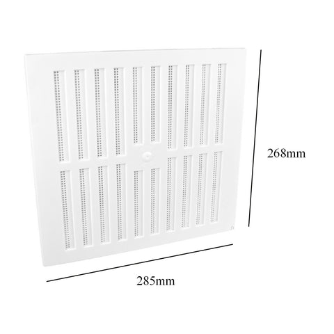 "9"" x 9"" White Adjustable Air Vent Grille with Flyscreen Cover"
