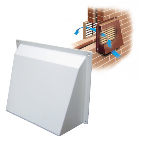 White Hooded Cowl Vent Cover for Air Bricks Grilles Extractors Vents