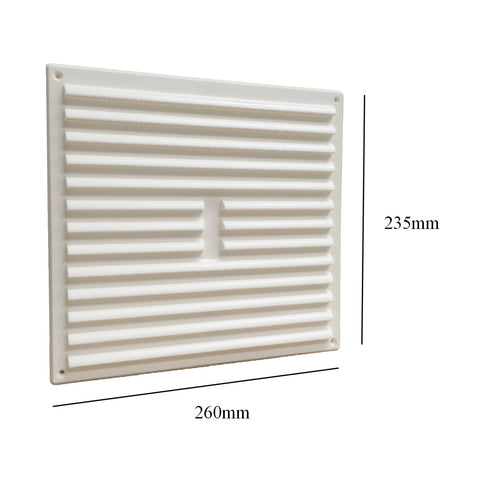 "9"" x 9"" White Louvre Air Vent Grille with Removable Flyscreen Cover"