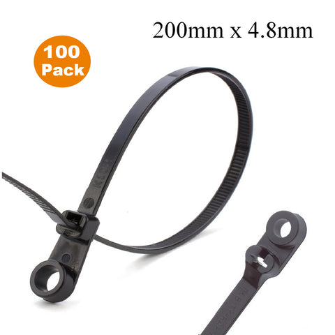 100 x Black Screw Mount Cable Ties 200mm x 4.8mm<br><br>