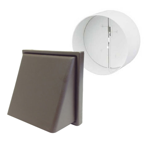 Brown Hooded Cowl Extractor Air Vent & Back Draught Shutter 4 Inch