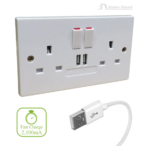 Double Wall Socket with Twin USB fast Charger Ports<br><br>