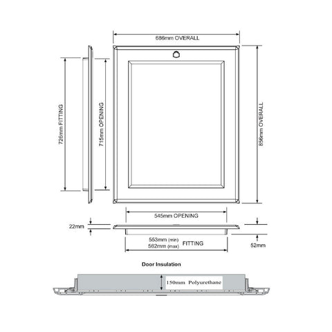Manthorpe 015-PU Hinged Loft Hatch Door Highest Insulation<br>