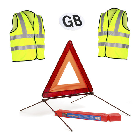 Large Reflective Warning Triangle  2 Safety Vests & GB Badge