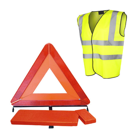 Large Reflective Warning Triangle Sign & Safety Vest<br><br>
