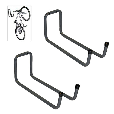 2 x Wall Mounted 250mm Tool / Bike Double Storage Hooks