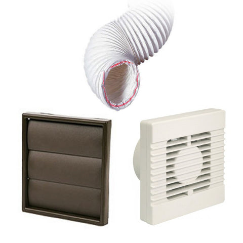 Manrose Standard Fan Brown Gravity 4 Inch Extractor Fan Ducting Kit