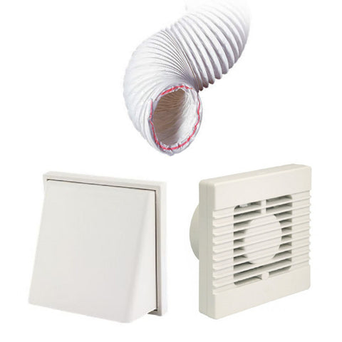 Manrose Standard Fan White Hooded 4 Inch Extractor Fan Ducting Kit