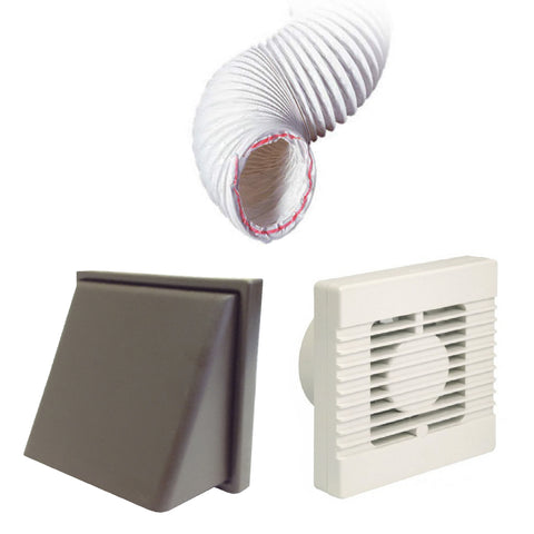 Manrose Timer Fan Brown Hooded 4 Inch Extractor Fan Ducting Kit