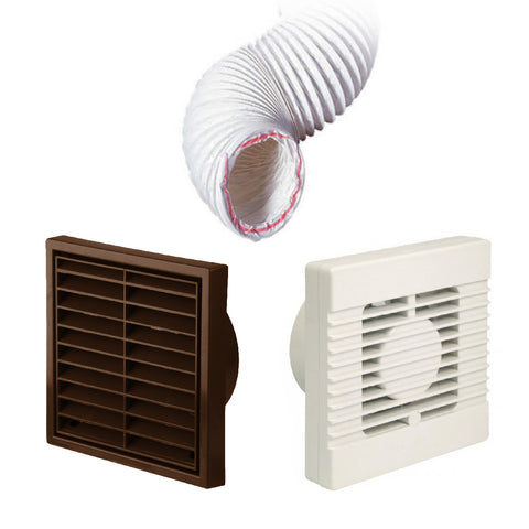 Manrose Standard Fan Brown Louvre 4 Inch Extractor Fan Ducting Kit