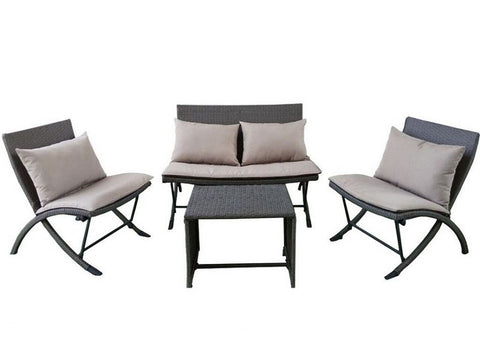 <br><br>Outdoor Ratten Garden Furniture, Folding Chairs & Table with Cushions