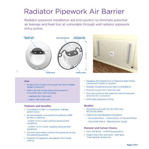 Radiator Pipework Air Barrier Part L Compliant / Pack Size Options
