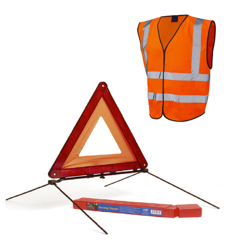 Reflective Large Warning Triangle Sign & Orange Safety Vest