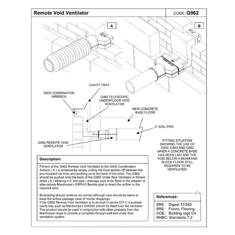 Manthorpe Remote Void Sleeve for Underfloor Telescopic Vents G962