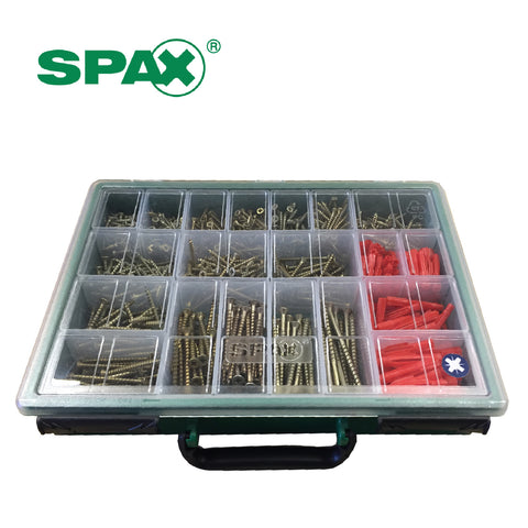 SPAX Xpert 847 Assorted Wood Screws & Plugs in Organiser Case
