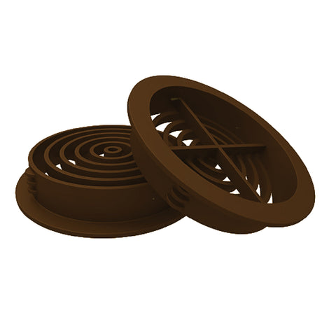 70mm Brown Plastic Round Soffit Air Vents / Push in Roof Disc / Menu Options