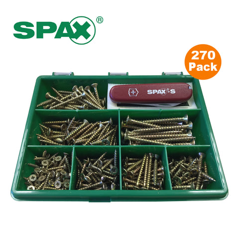 270 x Assorted Pozi Passivated Wood Screws in Organiser Box