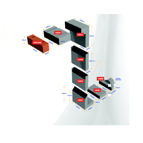 Telescopic Adjustable Underfloor Cavity Vent with Extensions & Air Brick