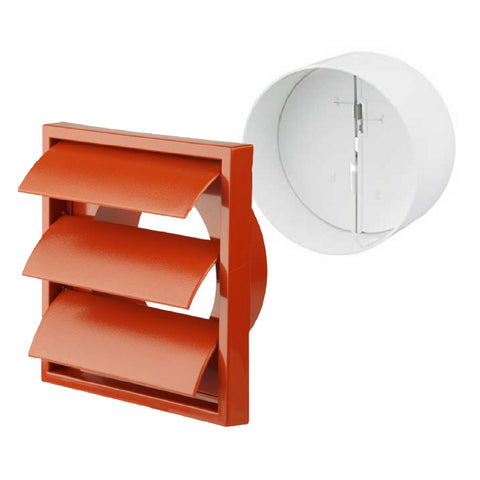 Terracotta Gravity Flap Air Vent & Back Draught Shutter 4 Inch