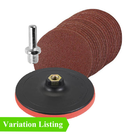 Mixed Grit Hook & Loop Sanding Discs & Backing Pad Kit Menu Options