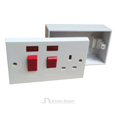 Double Cooker Switch Socket Unit & Pattress Box, 45 Amp Double Pole