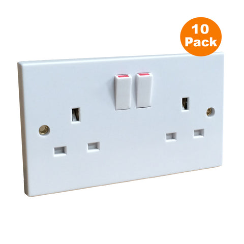 10 x White Double Wall Sockets 2 Gang Square Edge Trade Pack