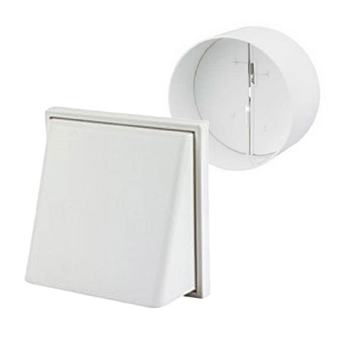White Hooded Cowl Extractor Air Vent & Back Draught Shutter 4 Inch