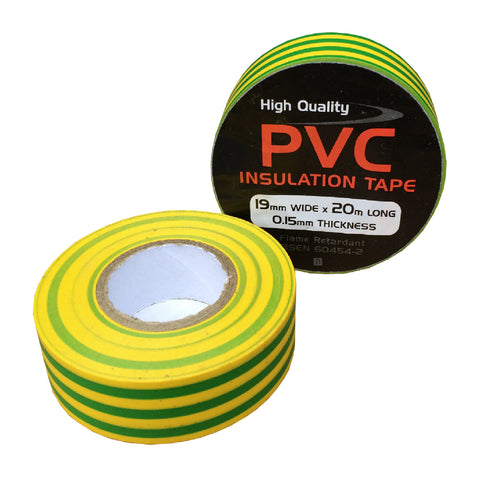 10 x Electrical Yellow / Green Earth PVC Insulation Tape<br><br>