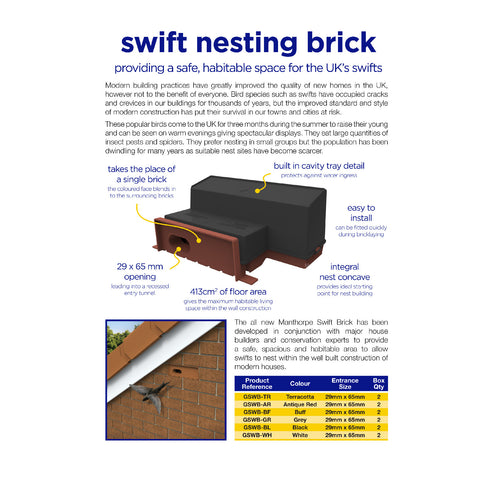 Swift Nesting Brick Box / Black Breeding Bird House<br><br>