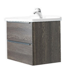 ARGENTO 24 INCH MODERN WALL MOUNT VANITY AND SINK COMBO WITH LED MIRROR - FOGIA GRAY