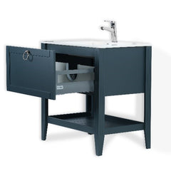 SOFIA 24 INCH FREE STANDING VANITY AND SINK COMBO WITH MATCHING MIRROR - CHARCOAL GRAY