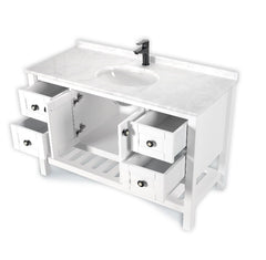 LUCCA 48 INCH FREE STANDING VANITY AND SINK COMBO WITH MATCHING MIRROR - WHITE