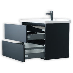 BRAZIL 40 INCH MODERN WALL MOUNT VANITY AND SINK COMBO WITH LED MIRROR - FOGIA GRAY