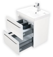 FIORE 24 INCH MODERN WALL MOUNT VANITY AND SINK COMBO WITH LED MIRROR - GLOSSY WHITE