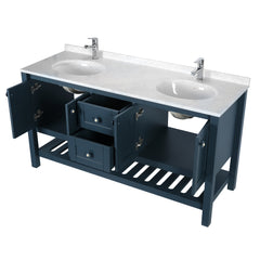 Giallo Rosso Lucca 60 inch Marble Top Double Sink Bathroom Vanity with Mirror