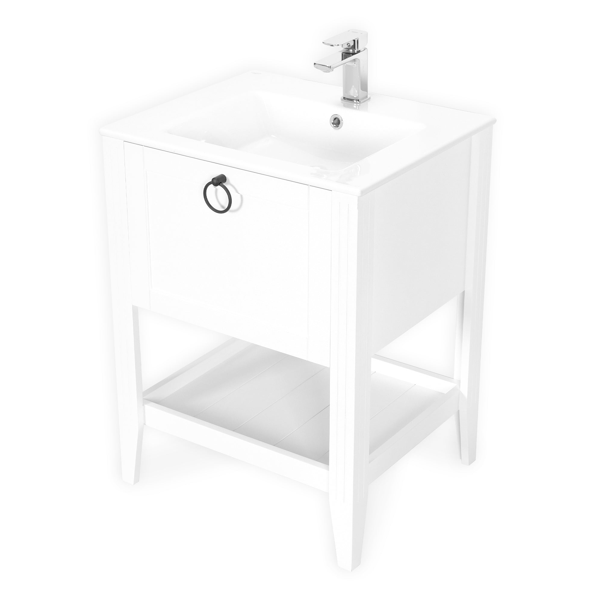 SOFIA 24 INCH FREE STANDING VANITY AND SINK COMBO WITH MATCHING MIRROR - WHITE
